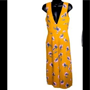 Dee Elly Mustard Yellow Floral Jumpsuit Size S